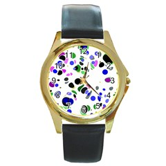 Colorful Random Blobs Background Round Gold Metal Watch