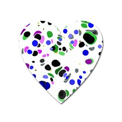 Colorful Random Blobs Background Heart Magnet by Nexatart