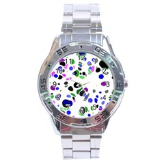 Colorful Random Blobs Background Stainless Steel Analogue Watch by Nexatart