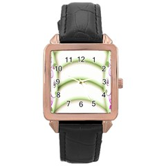 Abstract Background Rose Gold Leather Watch