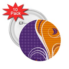 Leaf Polka Dot Purple Orange 2 25  Buttons (10 Pack)  by Mariart