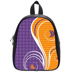 Leaf Polka Dot Purple Orange School Bags (small)  by Mariart