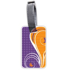 Leaf Polka Dot Purple Orange Luggage Tags (two Sides) by Mariart
