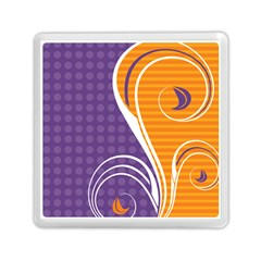 Leaf Polka Dot Purple Orange Memory Card Reader (square)  by Mariart