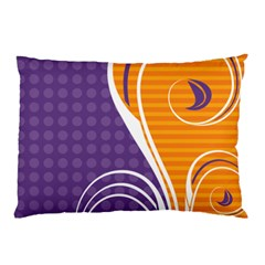Leaf Polka Dot Purple Orange Pillow Case (two Sides) by Mariart