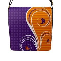 Leaf Polka Dot Purple Orange Flap Messenger Bag (l)  by Mariart