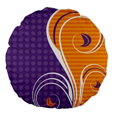 Leaf Polka Dot Purple Orange Large 18  Premium Flano Round Cushions by Mariart