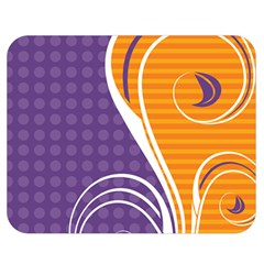 Leaf Polka Dot Purple Orange Double Sided Flano Blanket (medium)  by Mariart