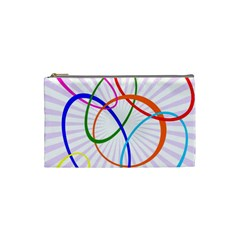 Abstract Background With Interlocking Oval Shapes Cosmetic Bag (small)  by Nexatart