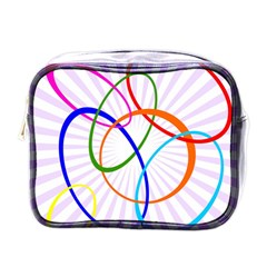 Abstract Background With Interlocking Oval Shapes Mini Toiletries Bags by Nexatart