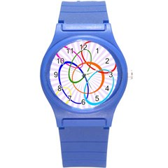 Abstract Background With Interlocking Oval Shapes Round Plastic Sport Watch (s)