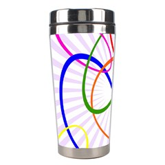 Abstract Background With Interlocking Oval Shapes Stainless Steel Travel Tumblers
