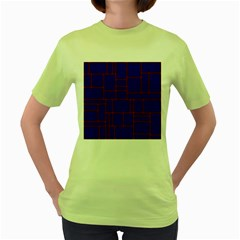Line Plaid Red Blue Women s Green T Shirt by Mariart