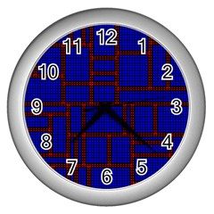 Line Plaid Red Blue Wall Clocks (silver)  by Mariart