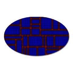 Line Plaid Red Blue Oval Magnet by Mariart
