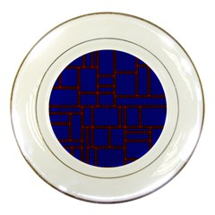 Line Plaid Red Blue Porcelain Plates by Mariart