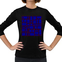 Line Plaid Red Blue Women s Long Sleeve Dark T Shirts by Mariart