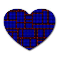 Line Plaid Red Blue Heart Mousepads by Mariart