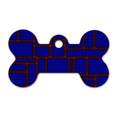 Line Plaid Red Blue Dog Tag Bone (two Sides) by Mariart