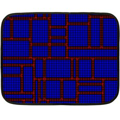 Line Plaid Red Blue Double Sided Fleece Blanket (mini)  by Mariart