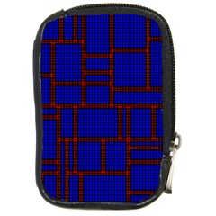 Line Plaid Red Blue Compact Camera Cases by Mariart
