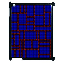 Line Plaid Red Blue Apple Ipad 2 Case (black) by Mariart