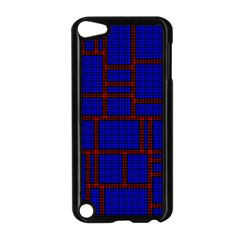 Line Plaid Red Blue Apple Ipod Touch 5 Case (black) by Mariart