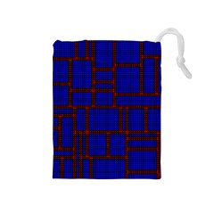 Line Plaid Red Blue Drawstring Pouches (medium)  by Mariart