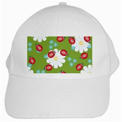 Insect Flower Floral Animals Star Green Red Sunflower White Cap by Mariart
