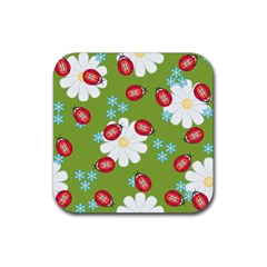 Insect Flower Floral Animals Star Green Red Sunflower Rubber Square Coaster (4 Pack)  by Mariart