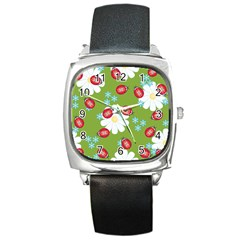 Insect Flower Floral Animals Star Green Red Sunflower Square Metal Watch by Mariart