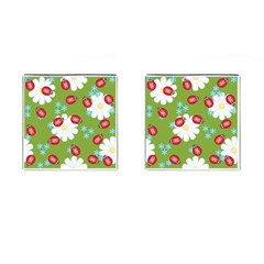 Insect Flower Floral Animals Star Green Red Sunflower Cufflinks (square) by Mariart