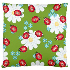Insect Flower Floral Animals Star Green Red Sunflower Large Flano Cushion Case (two Sides) by Mariart