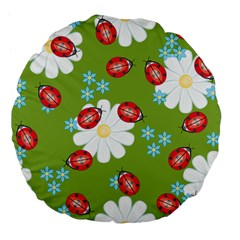 Insect Flower Floral Animals Star Green Red Sunflower Large 18  Premium Flano Round Cushions by Mariart