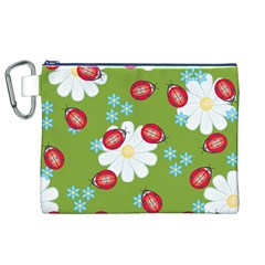 Insect Flower Floral Animals Star Green Red Sunflower Canvas Cosmetic Bag (xl) by Mariart