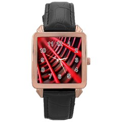 Abstract Of A Red Metal Chair Rose Gold Leather Watch  by Nexatart
