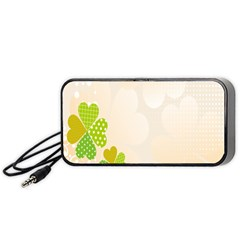 Leaf Polka Dot Green Flower Star Portable Speaker (black) by Mariart