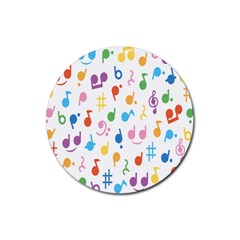 Musical Notes Rubber Round Coaster (4 Pack)  by Mariart