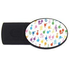 Musical Notes Usb Flash Drive Oval (4 Gb) by Mariart