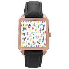 Musical Notes Rose Gold Leather Watch  by Mariart