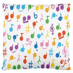 Musical Notes Large Flano Cushion Case (one Side) by Mariart