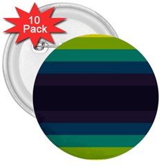 Neon Stripes Line Horizon Color Rainbow Yellow Blue Purple Black 3  Buttons (10 Pack)  by Mariart