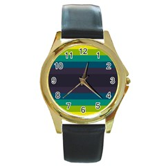 Neon Stripes Line Horizon Color Rainbow Yellow Blue Purple Black Round Gold Metal Watch by Mariart