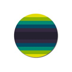 Neon Stripes Line Horizon Color Rainbow Yellow Blue Purple Black Magnet 3  (round) by Mariart