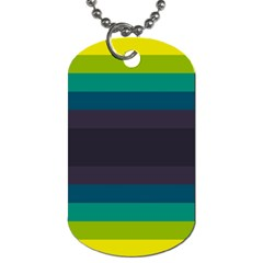 Neon Stripes Line Horizon Color Rainbow Yellow Blue Purple Black Dog Tag (one Side) by Mariart