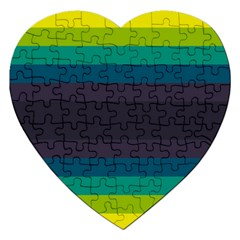 Neon Stripes Line Horizon Color Rainbow Yellow Blue Purple Black Jigsaw Puzzle (heart) by Mariart