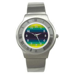 Neon Stripes Line Horizon Color Rainbow Yellow Blue Purple Black Stainless Steel Watch by Mariart