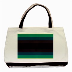 Neon Stripes Line Horizon Color Rainbow Yellow Blue Purple Black Basic Tote Bag (two Sides) by Mariart