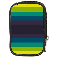 Neon Stripes Line Horizon Color Rainbow Yellow Blue Purple Black Compact Camera Cases by Mariart