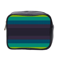 Neon Stripes Line Horizon Color Rainbow Yellow Blue Purple Black Mini Toiletries Bag 2 Side by Mariart